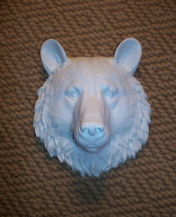 Not So Scary Baby White Bear............Small,Faux Taxidermy,Head,Mount