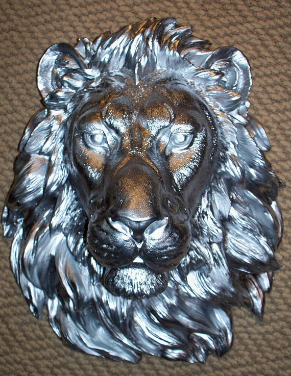 King of Beasts...Silver Lion...Aluminum.........Faux Taxidermy,Head,Mount