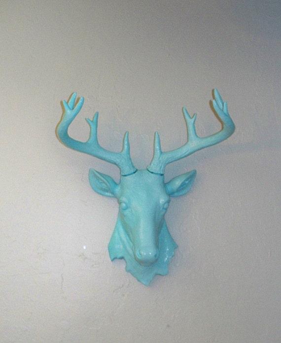 Stag Mount,Blue Ocean Breeze, Faux Taxidermy,Deer Head,Antlers,Buck