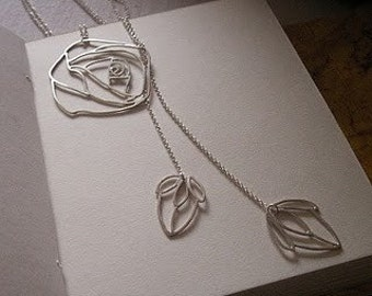 Blossoming Rose Silver Necklace