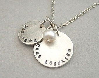 Silver and Freshwater Pearl Personalised Necklace