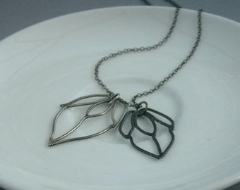 Silver and Black Blossom Necklace
