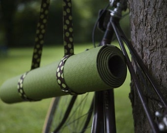 Chocolate green dot yoga mat sling  carry strap (not a bag) yoga accessories brown and green