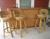 RESERVED 1950s Vintage Tiki Bar & Stools Bamboo, Rattan and Wicker (3658-W)