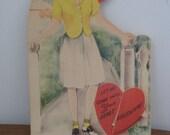 Vintage Mechanical Valentine Card Honeycomb Heart 1940s  (3554-W)