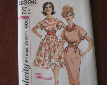 Vintage 1950s Simplicity Dress Skirt  Sewing Pattern (3351-W)