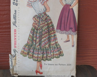 Vintage Simplicity Sewing Pattern 1940s Flared Skirt 1948 (3433-W)