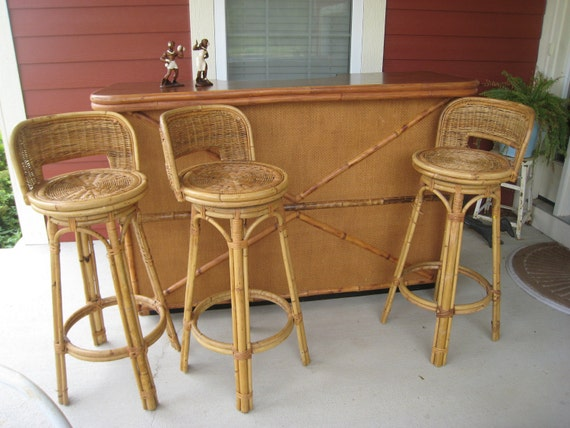 Reserved 1950s Vintage Tiki Bar Amp Stools Bamboo Rattan And