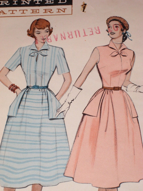 Vintage Sewing Pattern 1950s Butterick Sewing Pattern for Dress June Cleaver (3157-W)