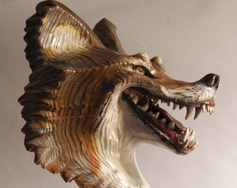 Grinning Coyote Mask, woodcarving by Jason Tennant,