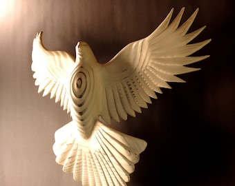 Dove Wall art woodcarving by Jason Tennant, inspirational art, wedding gift,  get well gift, Christmas, Hanukkah