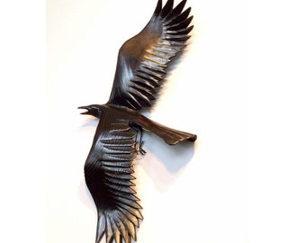 Flying Crow wood carving, gesture 2 by Jason Tennant
