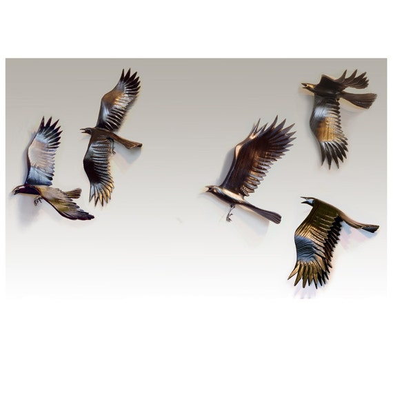 Flying Crows wall art wood sculptures  Set of Five Crows.