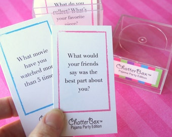 INSTANT DOWNLOAD - ChatterBox Conversation Game - Pajama Party Edition Printable Set
