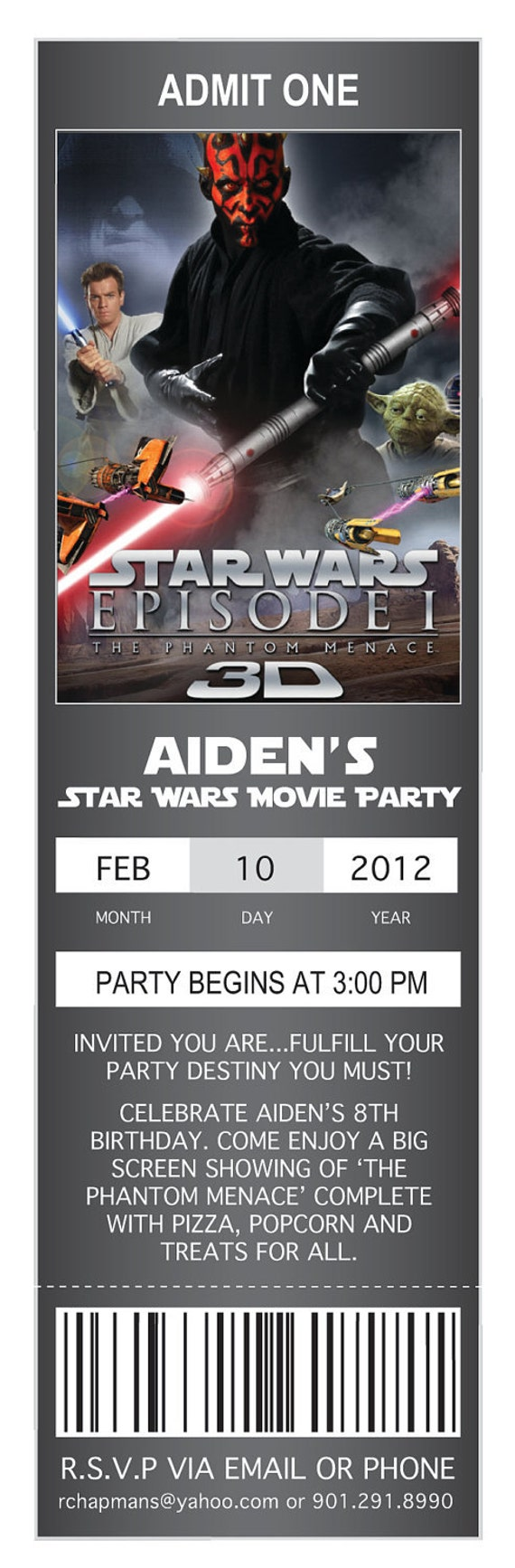 Movie Ticket Birthday Invitations: Star Wars