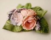 LAST ONE whimsical bridal hair clip, pink vintage flowers
