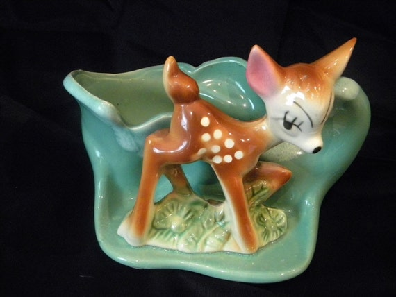 Vintage Bambi Deer Usa Pottery Planter