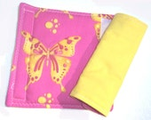 Car Seat Strap Covers Seat Belt Strap Covers - Hot Pink with Yellow Butterflies Reverses to Solid Yellow - READY MADE