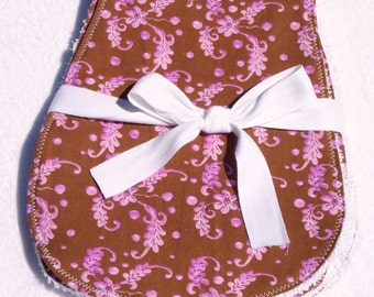 Baby Burp Cloths Set of 3 - Purple Floral Print on Chocolate Brown - READY MADE