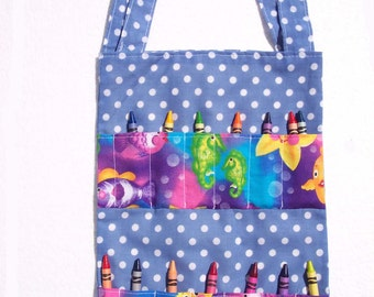 Children's Tote Bag, School Bag, Crayon Roll Bag - Blue and White Polka Dots with Ocean Animals - READY MADE