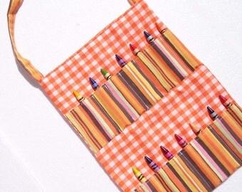 Kid's Tote Bag, Crayon Roll Bag - Orange Gingham  - READY MADE