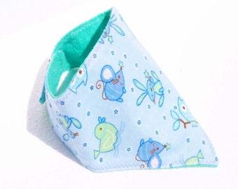 Bandana Baby Bib Dribble Bib Drooler Bib - Owl, Bunny, Duck and Stars on Blue  READY MADE