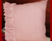 Red and White Ticking French Country Pillow with Ruffle