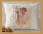 Shabby Chic Victorian Harrison Fisher Lady Pillow, Cottage Chic