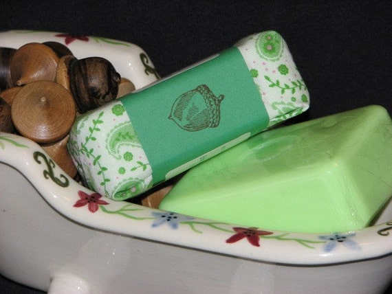 LILY OF THE VALLEY Handcrafted Glycerin Soap With Goats Milk, Soy Milk, Cocoa Butter, Mango Butter, Fabric Wrapped