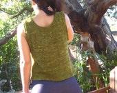 Elegant Handknit Olive Tank Top wool & silk