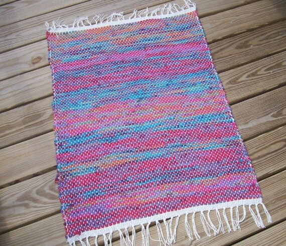 Teal Woven Rag Rug: Items Similar To Loom Woven Rag Rug Rose Aqua Wine Teal