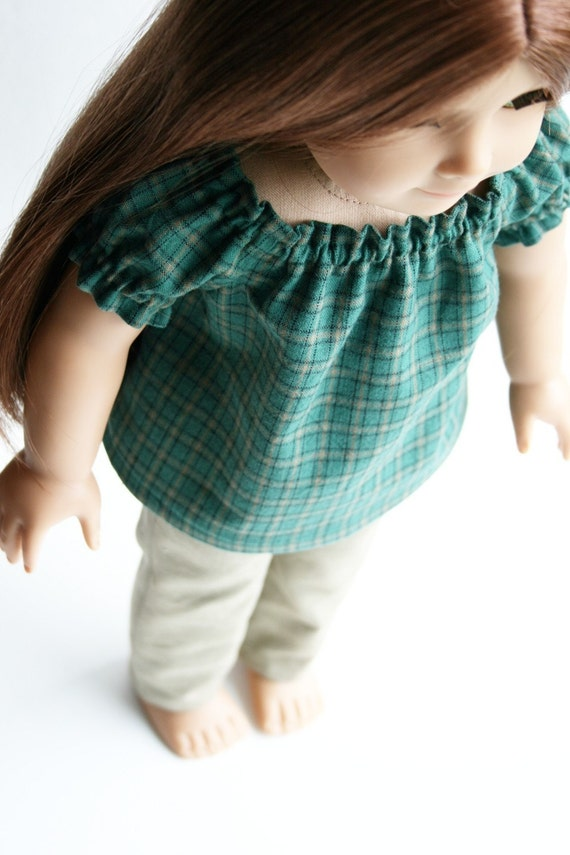 American Girl Doll Clothes - Green Plaid Peasant Top and Tan Skinny Pants, Made To Order