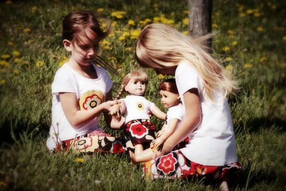 Matching Girl (Size 5/6) and AG Doll Yellow Flower Appliqued T-shirts