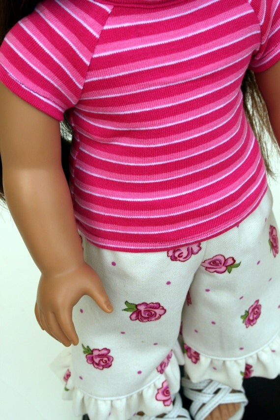 American Girl Doll Clothes - Pink Striped Fitted Tee and Rose Ruffle Capris