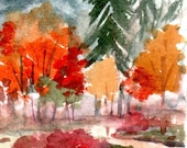 Fall leaves tree landscape ACeO Art Card small painting original watercolor