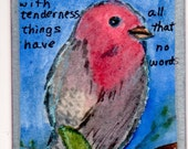 ACEO bird prayer Art Card Original ACEtsy Team watercolor small painting free shipping
