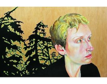 Easting / Hemlox - large painting on wood panel