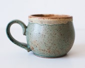 Stoneware Mug, Pale Mint and Yellow, 10 Ounces