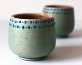 Set of Two Turquoise Cups, Spotted Rims, Stoneware, 10 Ounces