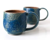 Ocean Blue Mugs, Stoneware, 10 Ounces, Set of Two