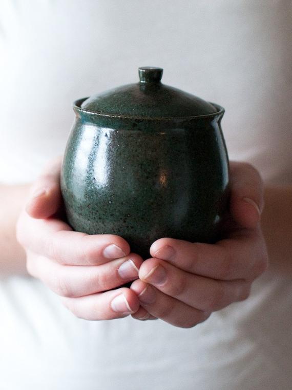 Dark Turquoise Trinket Jar, Stoneware