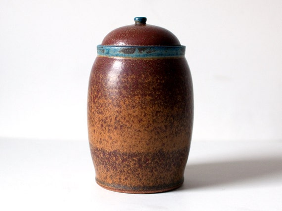 Cranberry Red Jar with Yellow Ochre and Blue Accents, Stoneware