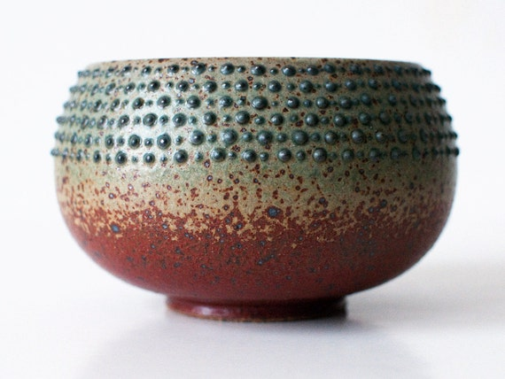 Spotted Bowl, Rust Red and Turquoise hues, Spotted