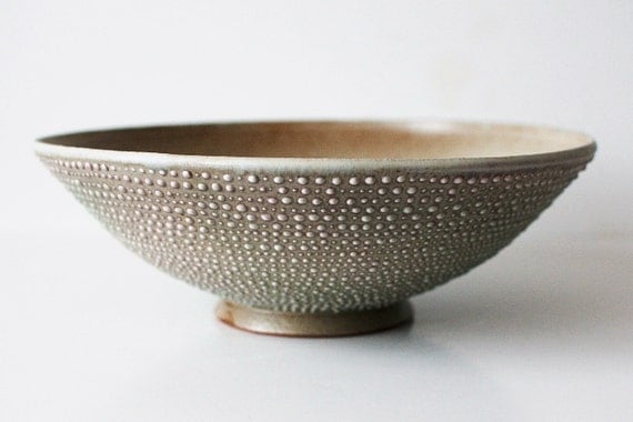 Spotted Serving Bowl, Pale Mint and Cream, Stoneware, Spotted
