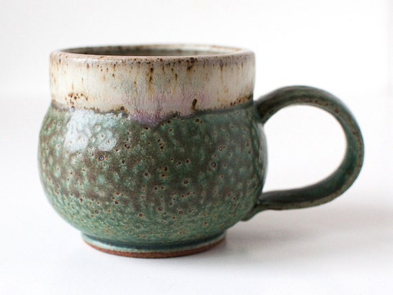Turquoise and Speckled White Mug, Stoneware, 14 Ounces