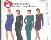 McCalls Misses TUNIC and Pull-On SKIRT In Two Lengths Sewing Pattern 9025 Size B 8-10-12 UNCUT
