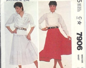 McCalls Vintage Misses SKIRT Sewing Pattern 7906 Size C Miss 16 Waist 30