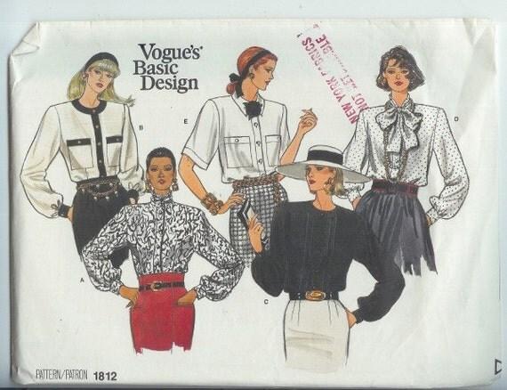 Vintage Vogue Misses BLOUSE  Sewing Pattern 1812 Size 8-10-12 UNCUT