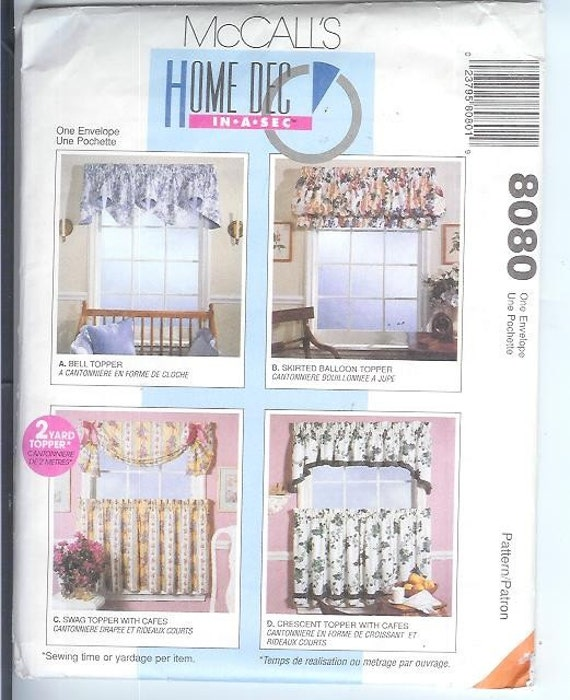 McCalls CURTAIN Valance SHADES Sewing Pattern 8080 By