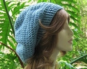 SALE SHOP CLOSING Oct 31...Hats 10 Dollars...Sea Blue Crocheted Slouchy Winter Hat ... Ski Hat Beret Tam Snood Rasta ...  Ready-to-Ship